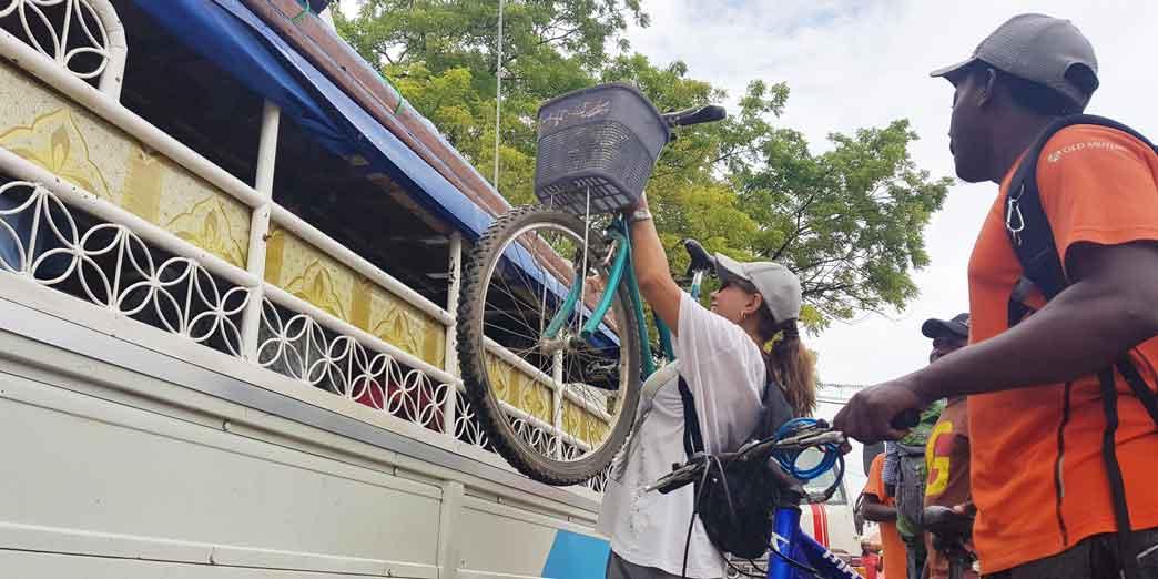 Off loading the bikes do do a Spice tour Zanzibar on bike
