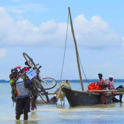 Transportation with local boats on our 7 days bicycle holiday around Zanzibar