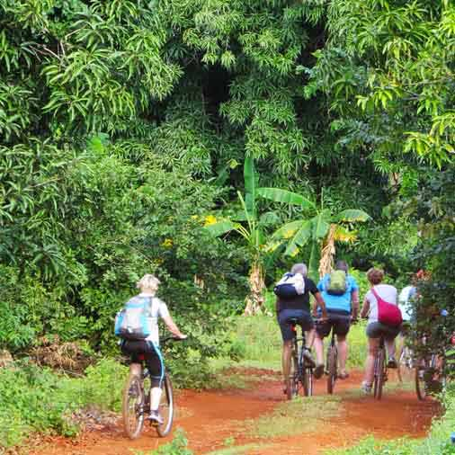 A group of friends on our7 days bicycle holiday all around Zanzibar
