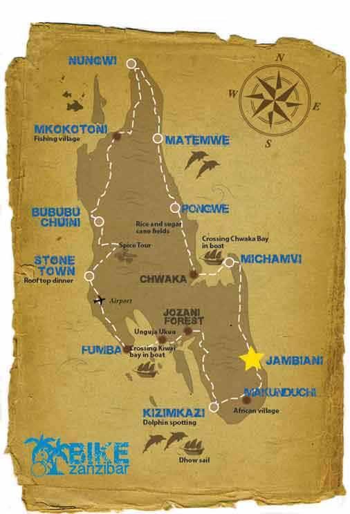 A map showing the 7 days bicycle holiday around Zanzibar