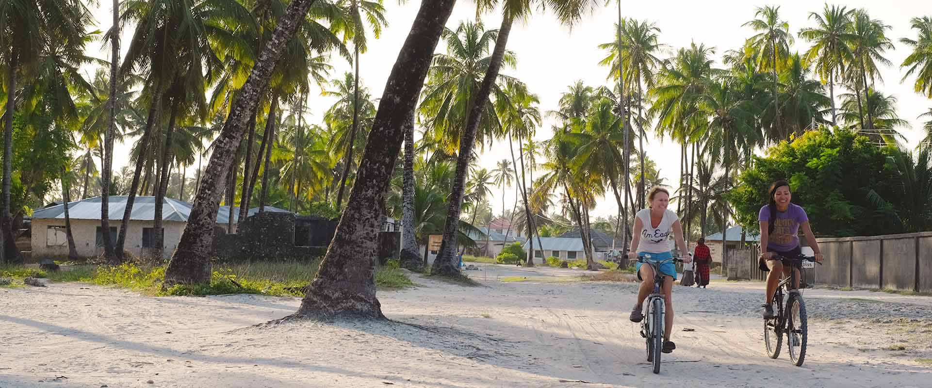 Biking through Jambiani on our7 days bicycle holiday all around Zanzibar