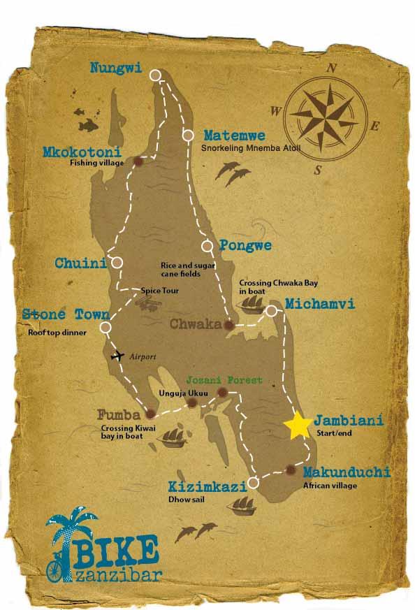 The map for 10 days cycling touraround Zanzibar